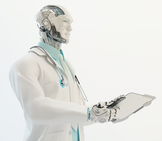 Robotic doctor in medical suit with stethoscope holding tablet, 3d render